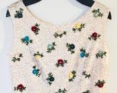 1960s Sequin Floral Crop Top