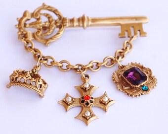 Vintage Rhinestone Gold Key Swag Brooch
