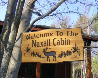 Camp Sign Family Cabin Sign    Northern White Cedar Carved Wood Sign    Personalized