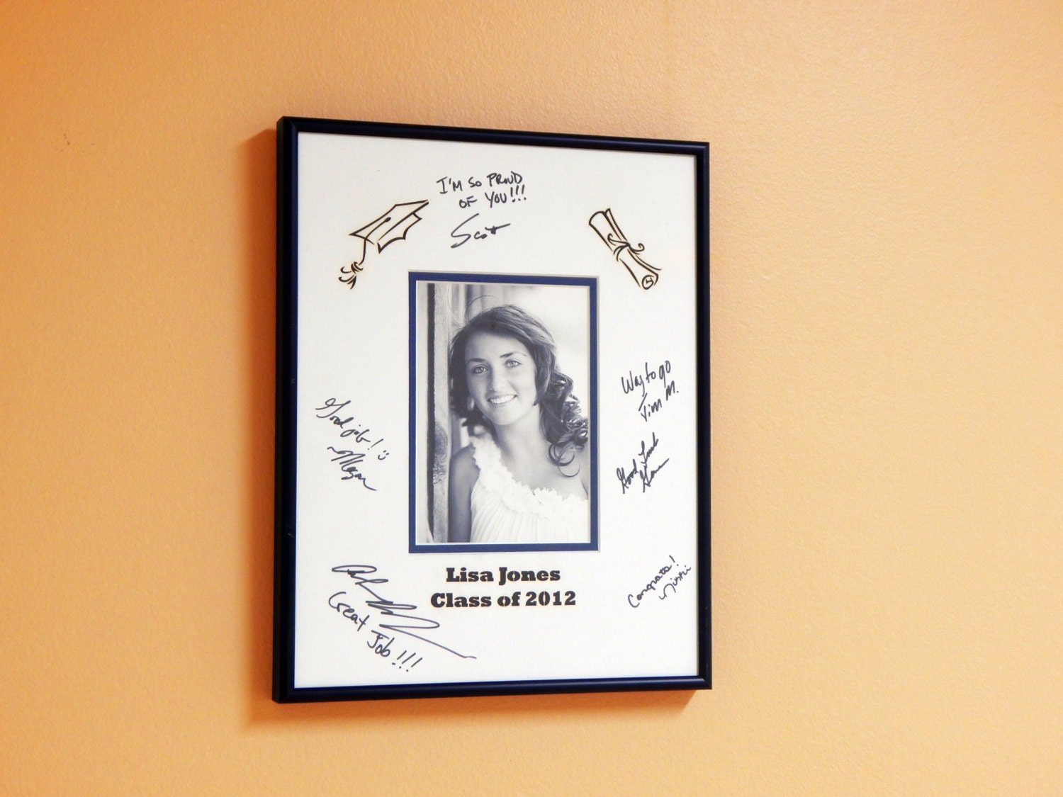 Custom Personalized Graduation Signature Mat And Frame