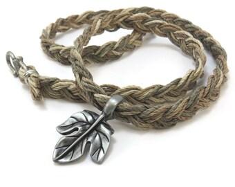 Hemp Jewelry, Leaf Necklace - Custom Hemp Cord Nature Jewelry, Bohemian Jewelry with Hemp Cord and Leaf Pendant