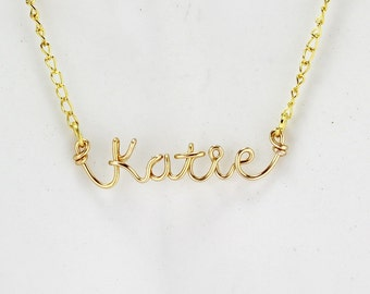Gold Wire Personalized Name Necklace, Custom Made Name or word necklace, Wire Name Pendant Necklace