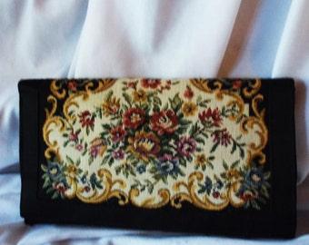 Tapestry Clutch Purse Vintage Fold Over Floral