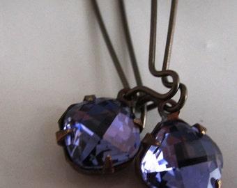 Tanzanite Swarovski Drop Rhinestone Earrings Periwinkle Blue Violet Rhinestone Earrings La Petite Tanzanite Earrings