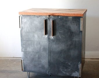 Industrial Liquor Cabinet- Metal Wine Cabinet- Reclaimed Wood Minibar- Vinyl Record Storage- Loft Storage Locker- Midcentury Hairpin Legs