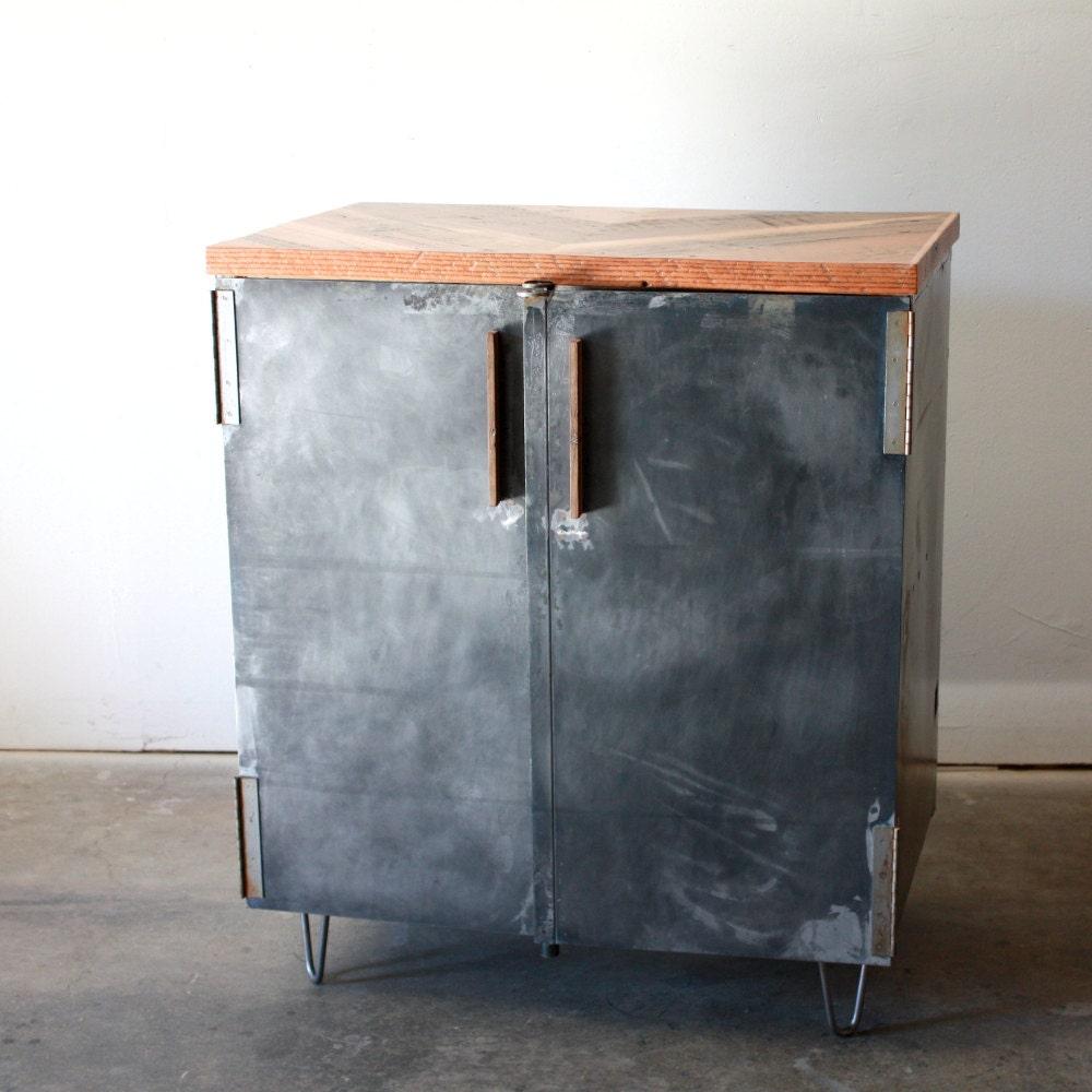 Industrial Liquor Cabinet Metal Wine Cabinet Reclaimed Wood