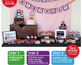 Pink Pirate Birthday Party Package Personalized FULL Collection Set - PRINTABLE DIY - PS831CA2x