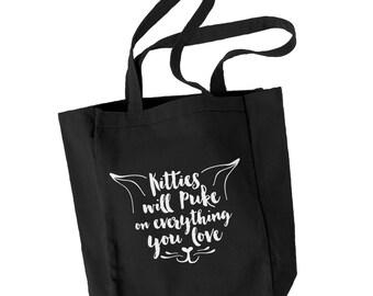 Kitties will puke canvas tote bag