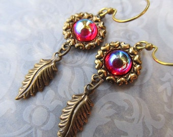 Art Nouveau Earrings Dragon's Breath Opal Earrings Gothic Earrings Ruby Red Earrings Art Deco Earrings Red Dangle Earrings- Dragon's Scales
