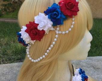 Pre-Order Patriotic Rose Pearl Band Goddess Flower Crown Headband Red white Blue USA