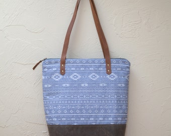Custom Listing for Janelle - Zip Tote in Mesa Chambray with Waxed Canvas