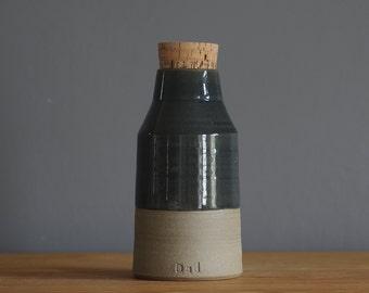 Customized Urn, larger sizes urn, bottle shape pottery urn for ash, personalized name urn. pet urn or human urn. Sand stoneware, slate grey