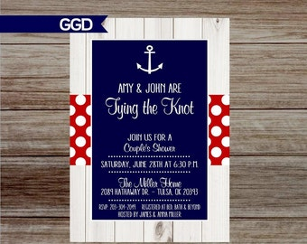 Rustic Nautical Couples Shower Invitation with Anchor, Anchor Shower Invite, printable invitation, couples shower-Printed or Digital File