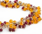 50% OFF - Red and Orange wire wrapped chunky gemstone bracelet - Carnelian and Garnet bracelet in Sterling Silver - Fall Autumn Halloween