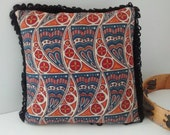 Boho Gypsy Pillow / Ethnic Tribal Throw Pillow with Loop Fringe / Blue Red Yellow Black / Paisley Mandala Sun Heart