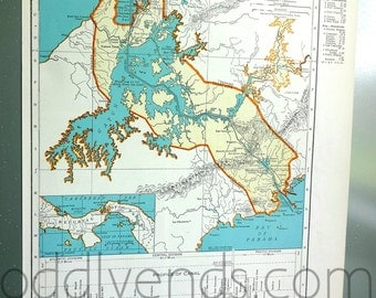 1939 Panama Canal Atlas Map