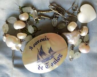 Souvenir de Toulon.  Antique pin cushion, heart, sea, ship, boat, vintage assembled, reconstructed, antique repurposed