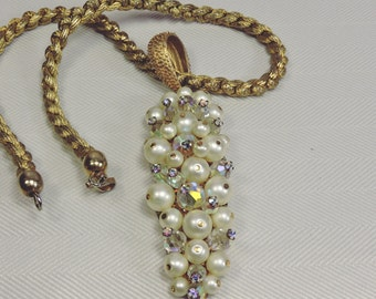 Pearl, Crystal and Rhinestone Pendant Necklace
