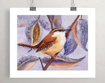 Carolina wren bird art print watercolor painting autumn wall decor fall artwork by Janet Zeh Original Art