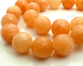 10mm Orange Peach Jade Faceted Gemstone Beads - 15.5 Inch Strand - BF37