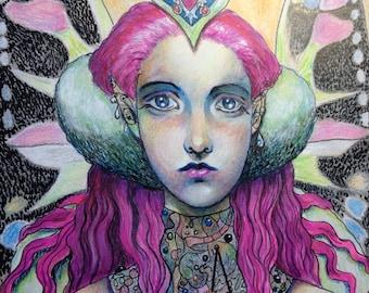 Radical Fairy Original Mixed Media Painting