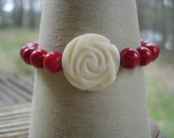 Rose Bone Bead and Red Riverstone Stretch Bracelet, Gemstone Jewelry, Summer Fashion, Gothic