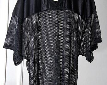 Super Shiny Black Mesh Oversized Football Jersey
