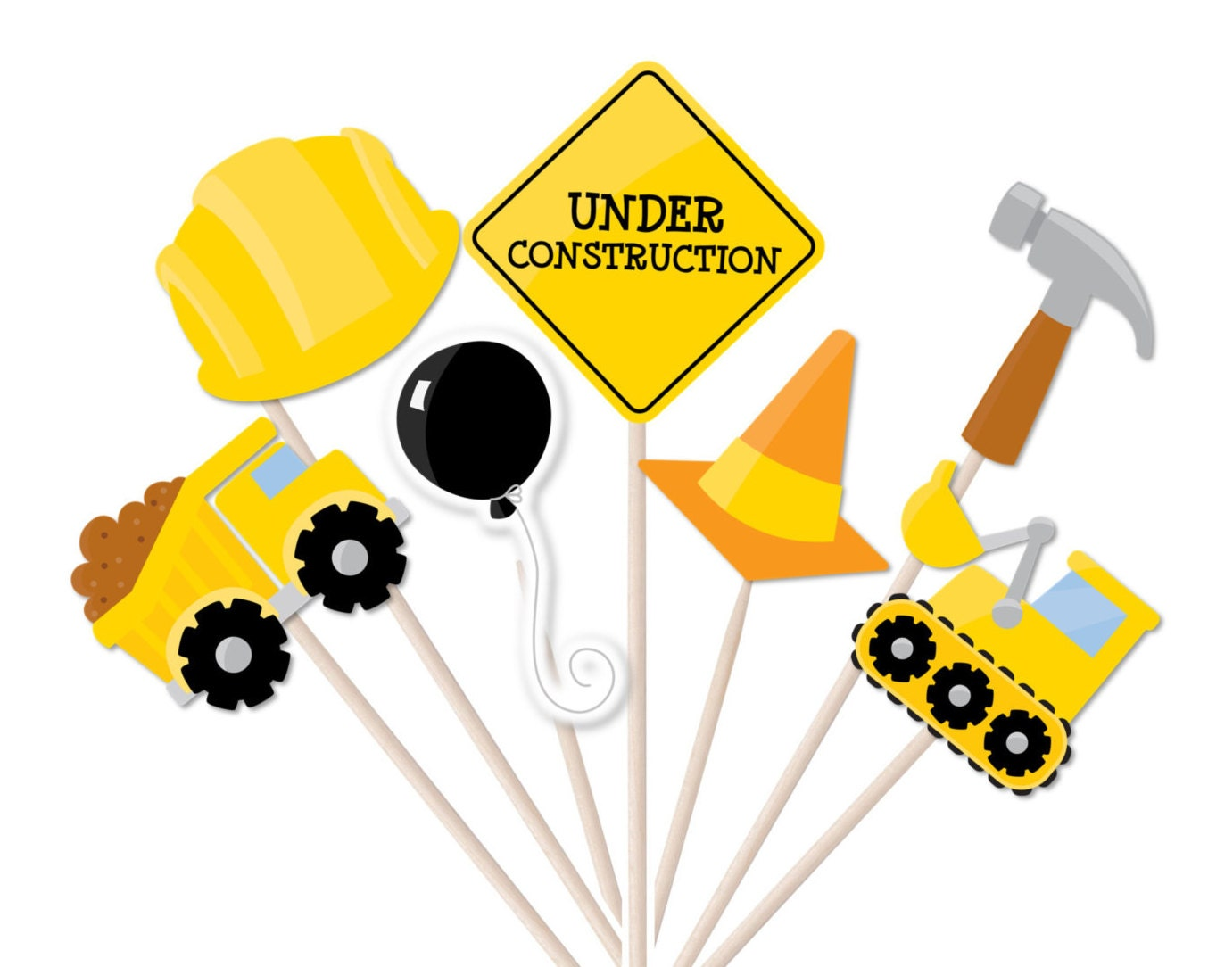 Construction Photo Booth Party Props Printable INSTANT