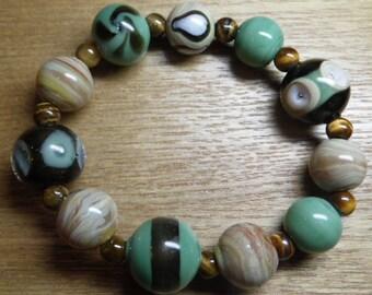 Turquoise and Caramel Lampwork Bracelet