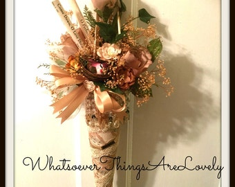 Victorian Tussie Mussie Romantic Home Decor Wall Floral Arrangement Shabby Dried Flower Design