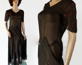 40s Does 20s Flapper Gown Art Deco Sheer Black Beaded Asymmetic Vintage Wedding