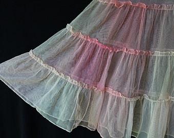 50s Petticoat, Tulle Crinoline, Pin Up Lingerie, Rockabilly, Rainbow