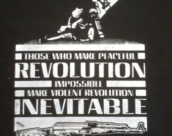 Radical Patch Protest MLK/JFK quote - peaceful/violent inevitable revolution-Political Protest patch- Activist