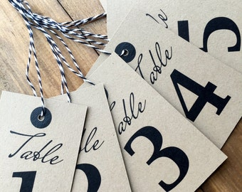 Table Number Tags, Table Numbers, Wedding Table Numbers, Wine Bottle Table Numbers, Tags, Numbered Tags, Rustic, Kraft, Twine, Set of 12