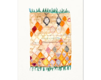 Watercolor Rug.  Rug Art Print.  Bohemian Rug Art Print.  Watercolor Antique Moroccan Rug.  Boho Home Decor.  Hippie Art Print.
