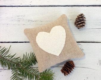 Rustic Wedding Favors, Rustic Pillows, Heart Pillow, Rustic Bridal Shower Favors, Anniversary Gift, Rustic Heart, Little Pillow