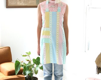Closing SALE Vintage Full Apron Bright Pastel Gingham Checkered Print