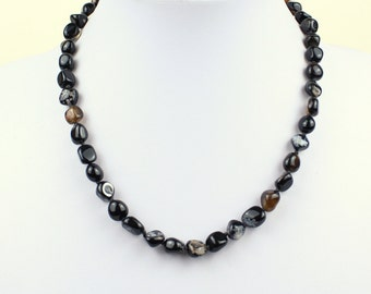 "Natural Black Agate Necklace. 9mm Pebble Beads. 16"". Grade 'A' Healing Therapeutic Grade Beads. MapenziGems"