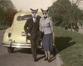 Phil & Marlo, Vintage Fox Print, Anthropomorphic, Whimsical Fox Art, Altered Photo,  Photo Collage, Unique Fox Wall Decor, Unusual Art Print