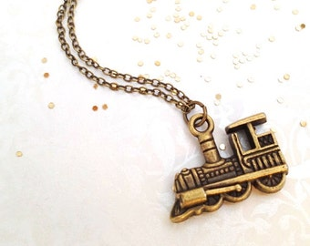 Train Charm Necklace. Vintage Style Brass Train Necklace. Locomotive. Travel. Adventure. Old Style Train. Under 10 Charms. Unisex.