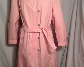 Vintage 80s Pink Belted Trench Coat by Changing Scene c9