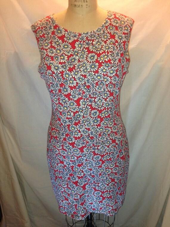 Vintage Red Sleeveless Daisy Dress by Alias Size Medium d17