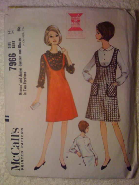 McCalls 60s Sewing Pattern 7966 Misses and Junior Jumper and Blouse Size 14