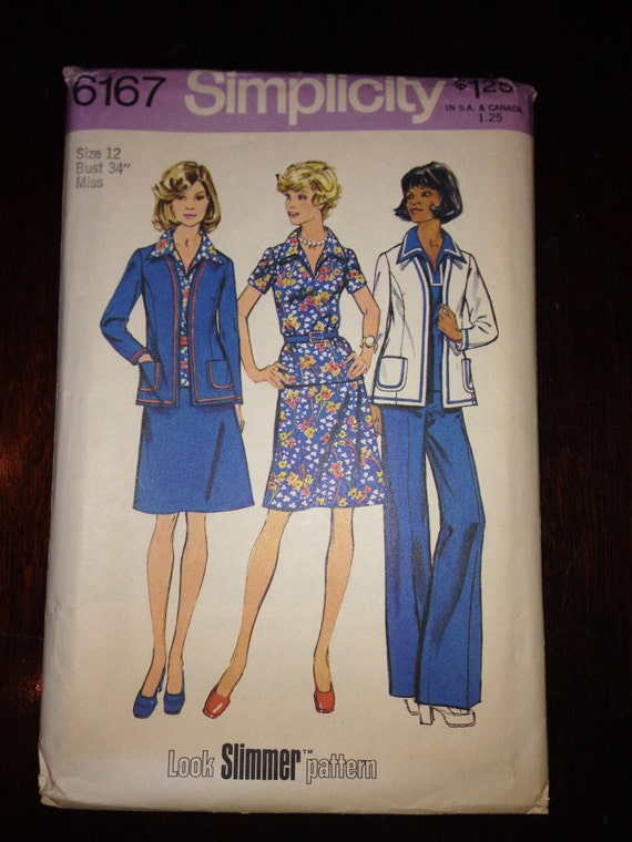 Simplicity Sewing Pattern 6167 70s Misses and Womens Unlined Jacket, Top, Skirt and Pants Size 12 Uncut
