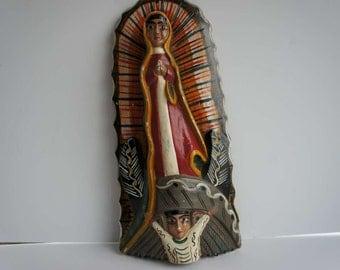 Vintage Wooden Santos Virgin of Guadalupe Handcarved Madonna Mexican Folk Art