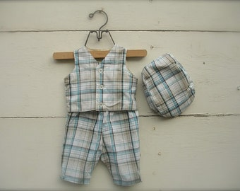 Baby boy gray, blue Plaid Boys Baby Pants & Hat and Bow Tie, gray Baby boys pants with hat, baby boy suit,