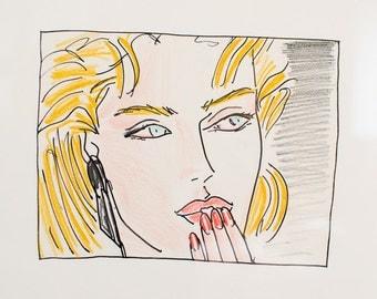 Vintage Framed Pop Art Girl Drawing / Illustration - 1970's