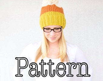 Knitting PATTERN, Candy Corn Knitted Ombre Hat, Halloween Hat, Halloween Hat pattern, Candy Corn, All sizes knitting pattern