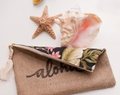 Pink Aloha Zipper Pouch Burlap / Tropical Floral / Oversized Travel Case