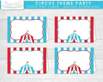 Circus / Carnival Theme Party Blank Food Tent Cards | Aqua & Red | Printable DIY Digital File | INSTANT DOWNLOAD
